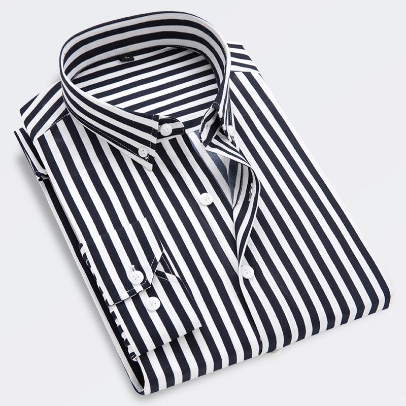 秋季男士条纹长袖衬衫时尚青年衬衣