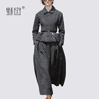 【新年狂欢到手价:756】魅斑POLO领收腰短上衣阔腿裤毛呢两件套女秋冬洋气休闲时尚套装裙