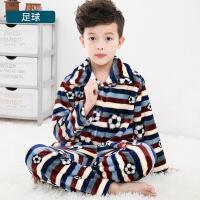 儿童法兰绒睡衣秋冬季男童女童加厚珊瑚绒套装男孩小孩宝宝家居服