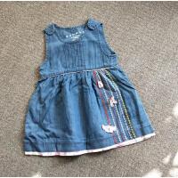 童装女婴童女宝宝纯棉水洗软牛仔背心连衣裙立体绣花0-4岁