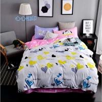 学生宿舍 三件套1米被套枕套床单1.2米家用纯棉被单人床上用品 白色 心心相印{3件套