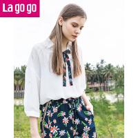 【5折价108】Lagogo2018春夏季新款时尚学院风雪纺衬衫女韩范少女半袖宽松上衣HASS434A11