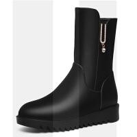靴子女中筒靴女鞋冬季2018新款中跟女士高跟皮鞋加绒保暖粗跟短靴SN1801 35 女款