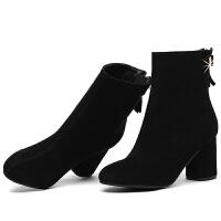 高跟短靴女秋冬季2018新款棉鞋毛皮鞋粗跟中筒靴真皮加绒女式靴子真皮