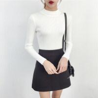 半高领白色毛衣女士秋冬短款套头长袖上衣黑色紧身针织打底衫yly