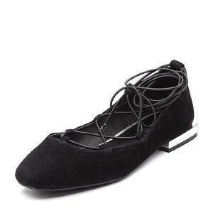 BASTO/百思图2018春季专柜同款羊绒皮简约纯色交叉绑带女浅口鞋RMM20AQ8