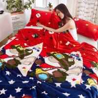 珊瑚绒毯子毛毛毯床单铺床带的双人短毛绒冬季加厚有被子单件