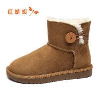 【领�涣⒓�150】红蜻蜓女鞋冬季新款韩版潮流雪地靴舒适加绒保暖棉鞋学生