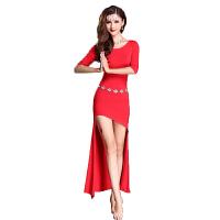 肚皮舞服装 春秋新款印度舞蹈女练功服莫代尔瑜伽练习比赛裙子性感演出舞蹈服套装 红色 均码