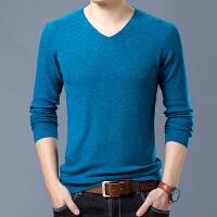 2018春季新款V领羊毛衫男纯色大码长袖T恤男士修身薄款针织打底衫 海绿 25-103