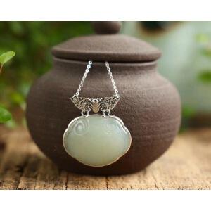 超美的纯银镶嵌天然和田玉如意锁 尺寸约30*24mm