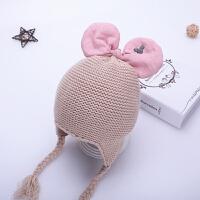 儿童帽子冬季女宝宝毛线帽6-30个月秋蝴蝶结女童护耳帽婴儿针织帽 米色 咪奇耳护耳帽 均码