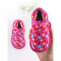儿童手工布鞋女宝宝女孩棉鞋传统布底棉鞋女童保暖鞋子加厚冬季srr 梅红苹果棉鞋