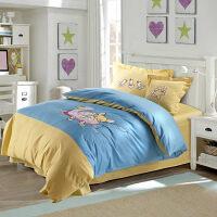 卡通床上用品四件套 立体绣花被套床单1.5m