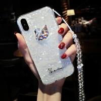 苹果X手机壳带挂绳挂脖女iPhone7plus全包防摔6s软硅胶贝壳8p水钻 iphone X