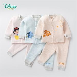迪士尼Disney童装 女童套装冬季新品卡通保暖男宝宝内衣家居服三层暖棉可开档184T849