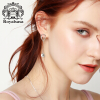 皇家莎莎花朵流苏耳环女耳坠气质韩国潮人网红仿水晶耳钉女首饰品