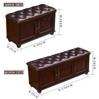 美式换鞋凳鞋柜欧式实木真皮储物凳进门可坐式穿鞋凳收纳凳床尾凳