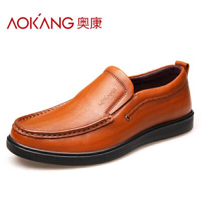 奥康男士休闲皮鞋真皮套脚懒人软面皮鞋一脚蹬驾车软底豆豆鞋