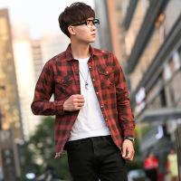秋季青少年时尚百搭格子衬衫男韩版长袖休闲牛仔衬衣男士外套男装