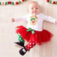 2018050943555童装女童宝宝圣诞套装儿童秋装2018新款1-7岁纯棉长袖婴儿两件套