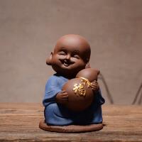 中式禅意可爱小和尚五福陶瓷家居博古架客厅家庭装饰品工艺品摆件