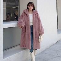 冬季新款仿兔毛�L衣��松�@瘦皮草大衣中�L款加厚�B帽拉�女士外套