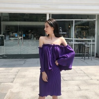 连衣裙女夏2018韩版小心机时髦一字领露肩诱惑紫别致百褶裙潮 紫色 均码