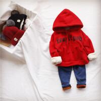 加绒加厚字母连帽卫衣 秋冬男女宝宝套头卫衣 婴儿长袖打底衫上衣