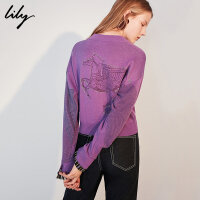 【25折到手价:179元】 Lily春新款女装后背飞马袖口拼接针织拉链短外套118340B3704