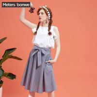 【2件2.5折到手价:47.5】美特斯邦威连衣裙女夏装新款个性条纹假两件学院风连衣裙仙商场款