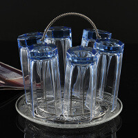 办公玻璃杯子套装蓝色水杯啤酒杯白酒杯四方八角圆杯加厚耐热茶杯