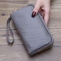 新款日韩长款女士钱包手包零钱包手机钱夹韩版编织手拿包潮女