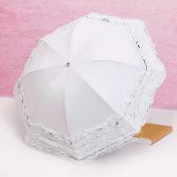 太阳伞蕾丝少女伞两用伞防晒遮阳防外线夏季粉折叠伞