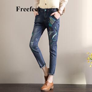 Freefeel2018春夏新款刺绣牛仔裤女款九分裤韩版修身显瘦铅笔裤