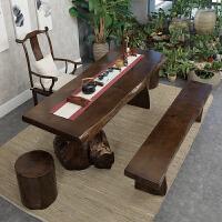 功夫茶几 实木客厅茶台现代简约定制原木茶艺桌 茶桌椅组合泡茶桌 组装