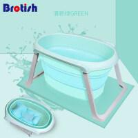 儿童洗澡桶婴儿浴盆大号加厚小孩泡澡沐浴桶可坐宝宝洗澡盆可折叠 清新绿配悬浮浴架