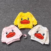 女婴儿童装0岁3个月1男宝宝冬装2加绒加厚卫衣服T恤套装春秋冬季