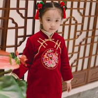 女童旗袍冬新年装过年喜庆宝宝装新年唐装儿童拜年服复古衣服