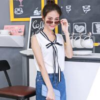 夏季女装新款学院风减龄百搭织带蝴蝶结雪纺上衣无袖纯色T恤背心