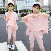 女童洋气夏装潮衣新款韩版儿童夏季衣服女孩时尚短袖两件套装