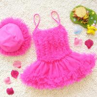儿童泳衣女童连体裙式公主蓬蓬裙中小童婴幼儿走秀表演宝宝泳装