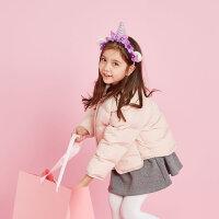 【全场2件2.5折,到手价:124.8】美特斯邦威旗下moomoo童装女童棉服新款冬季装纯色洋气中大儿童外套-CC