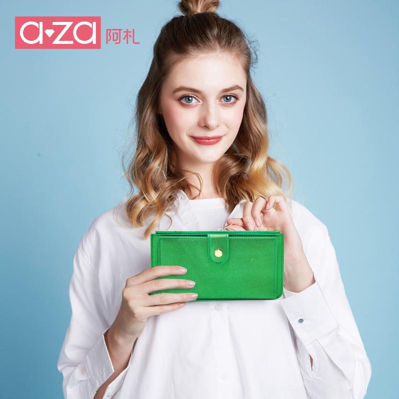 aza阿札夏季包包2017新款 简约清新多功能超薄长款钱包手拿包3389