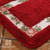 新款田园玫瑰地垫地毯门垫吸水防滑厨房阳台浴室垫脚垫