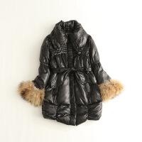 日单女冬款羽绒服 中长款翻领貉子毛条修身黑色外套19X