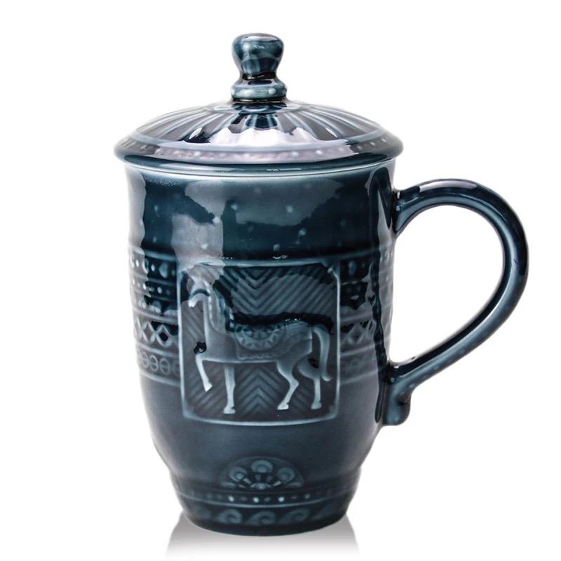 乾唐轩活瓷杯皇家骏马高杯创意陶瓷商务办公泡茶水杯子