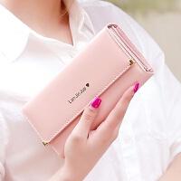 3件7折长款钱包女手拿包2018新款韩版简约时尚甜美多功能大容量皮夹钱夹