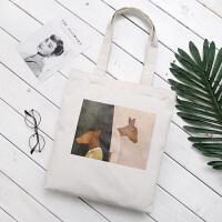 新款复古文艺油画帆布包女单肩手提包简约学生书包购物袋
