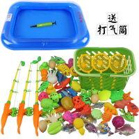 儿童宝宝小孩果蔬钓鱼玩具磁性套装戏水池捞鱼toy